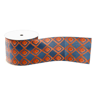 Orange Navy Blue Watercolor Pattern Grosgrain Ribbon