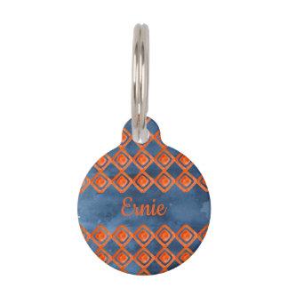 Orange Navy Blue Watercolor Pattern Pet ID Tag
