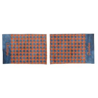 Orange Navy Blue Watercolor Pattern Pillowcase