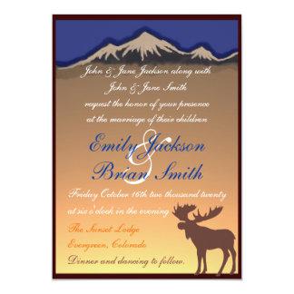 "Orange navy custom moose artistic wedding invites 5"" x 7"" invitation card"