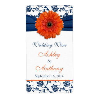 Orange Navy Daisy Wedding Wine Bottle Labels