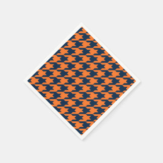 Orange/Navy Houndstooth Disposable Napkin