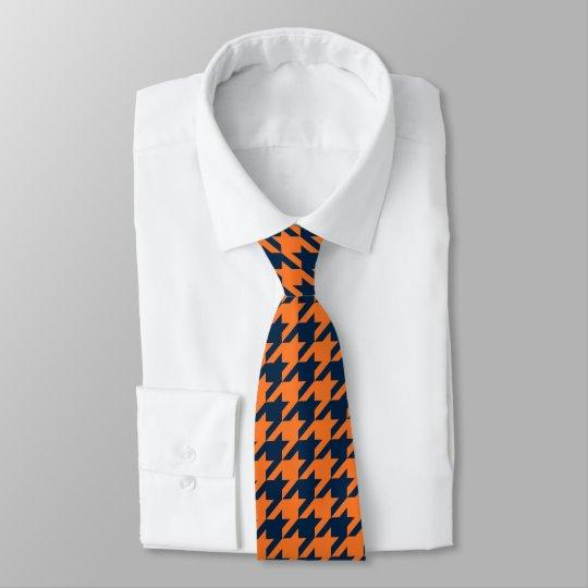 Orange/Navy Houndstooth Tie