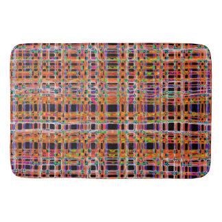 Orange neon lines pattern bath mat