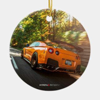 Orange Nissan GT-R Ripping through Seattle streets Round Ceramic Decoration