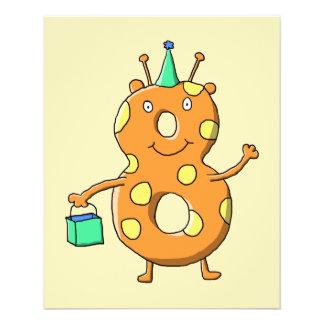 Orange number 8 monster for 8th Birthday. Flyer Design