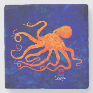 Orange Octopus Facing Left - Marble Coaster Stone Beverage Coaster