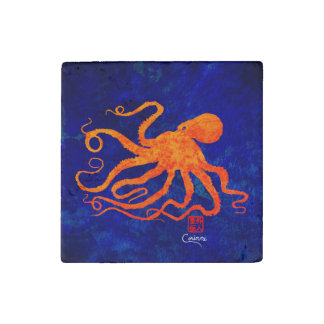 Orange Octopus - Marble Magnet Stone Magnet