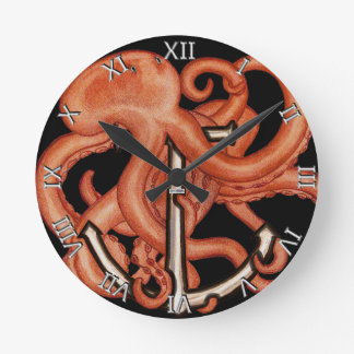 Orange Octopus Over Anchor Round Clock