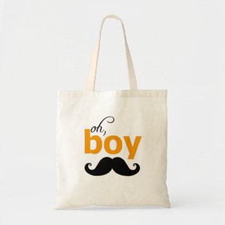 Orange Oh Boy Mustache Baby Shower Tote Bag