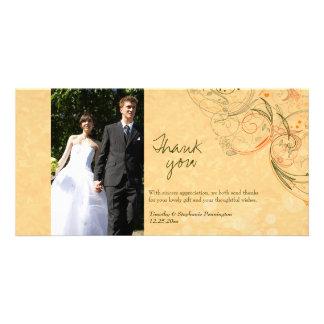 Orange & olive floral swirls wedding thank you photo greeting card