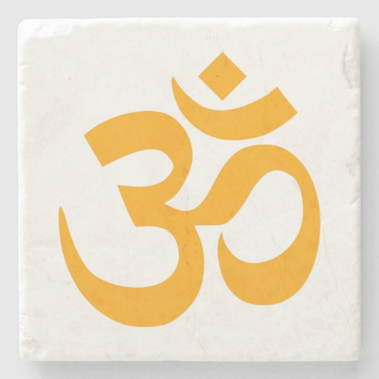 Orange Om Symbol Stone Coaster