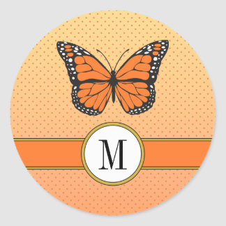 Orange Ombre & Dainty Dots Butterfly Monogram Classic Round Sticker