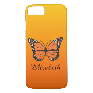 Orange Ombre Monarch Butterfly Custom Name iPhone 8/7 Case