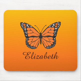 Orange Ombre Monarch Butterfly Custom Name Mouse Mat