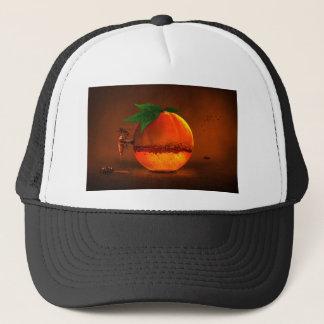 Orange on tap trucker hat