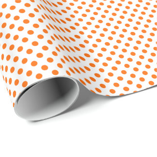 Orange on White Polka Dot Wrapping Paper