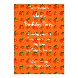 Orange oranges pattern personalized invitation