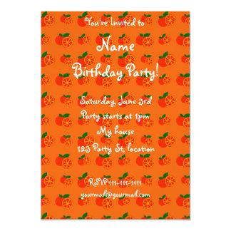 Orange oranges pattern 13 cm x 18 cm invitation card