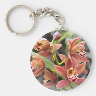 Orange Orchid Flowers Basic Round Button Key Ring