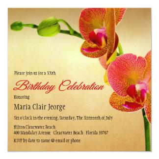 Orange Orchids Birthday Party Invitation