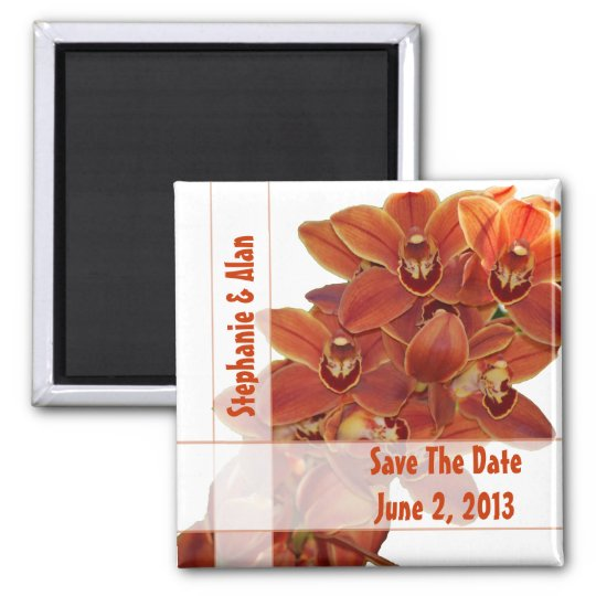 Orange Orchids Save The Date Magnets