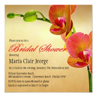 Orange Orchids Wedding Bridal Shower Invitation