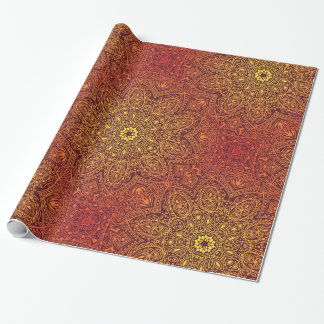 Orange Ornamental Lace Pattern Wrapping Paper