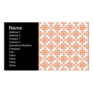 Orange over White Damask Style Pattern Business Card Template