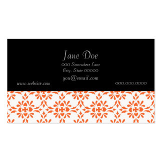 Orange over White Damask Style Pattern Pack Of Standard Business Cards
