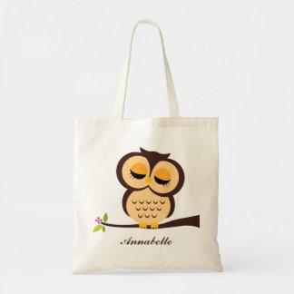 Orange Owl Budget Tote Bag