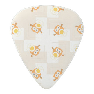 Orange Owl Illustration Pattern Acetal Guitar Pick