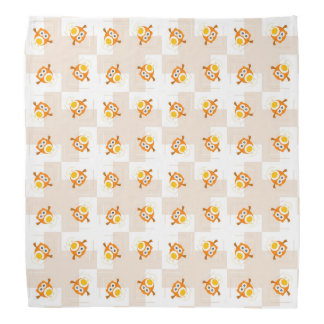 Orange Owl Illustration Pattern Bandana