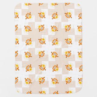 Orange Owl Illustration Pattern Buggy Blanket