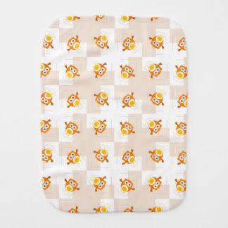Orange Owl Illustration Pattern Burp Cloth