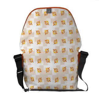 Orange Owl Illustration Pattern Courier Bag