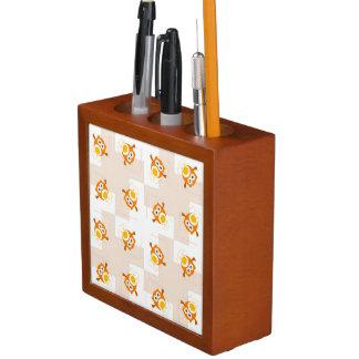 Orange Owl Illustration Pattern Desk Organiser