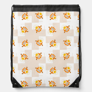 Orange Owl Illustration Pattern Drawstring Bag
