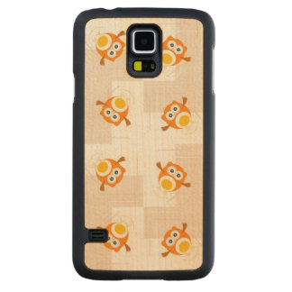 Orange Owl Illustration Pattern Maple Galaxy S5 Slim Case