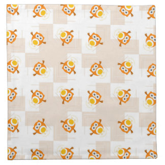 Orange Owl Illustration Pattern Napkin