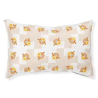 Orange Owl Illustration Pattern Pet Bed
