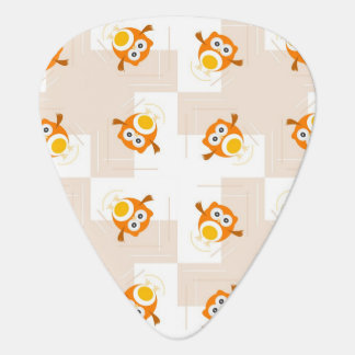 Orange Owl Illustration Pattern Plectrum
