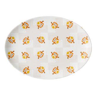Orange Owl Illustration Pattern Porcelain Serving Platter