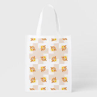 Orange Owl Illustration Pattern Reusable Grocery Bag