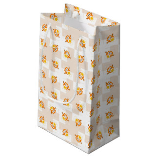 Orange Owl Illustration Pattern Small Gift Bag