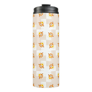 Orange Owl Illustration Pattern Thermal Tumbler
