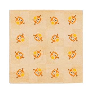 Orange Owl Illustration Pattern Wood Coaster