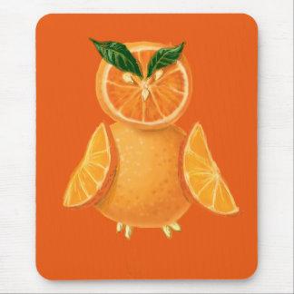 Orange owl mouse pad