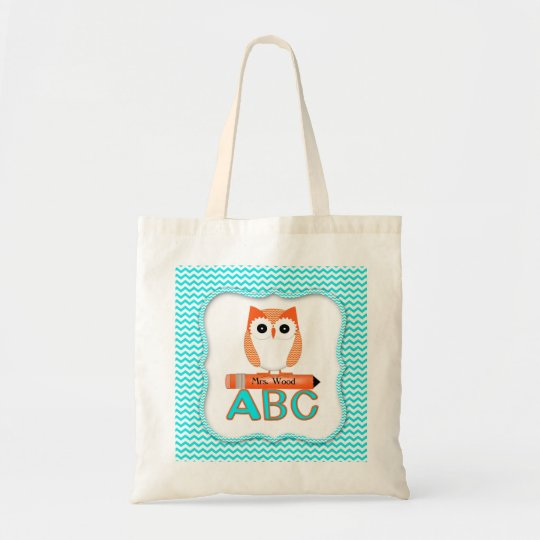 Orange Owl Teacher Bag Chevron Print
