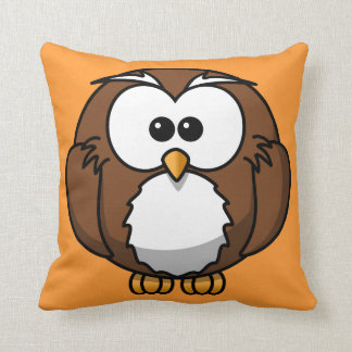 Orange Owl Throw Pillow